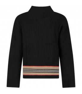 Black boy cardigan with iconic stripes