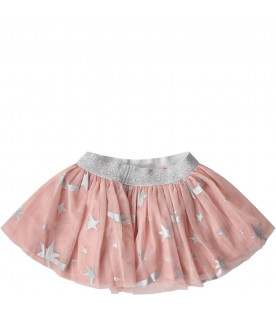 Pink babaygirl skirt with colorful pois