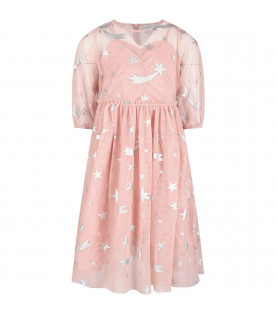 Pink girl dress with silver stars
