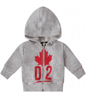 DSQUARED2 Grey babyboy sweatshirt with red iconic logo