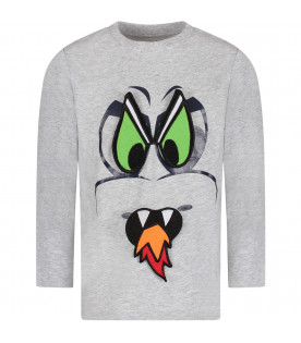 Grey boy T-shirt with black dragon eyes