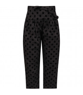 Black pants for girl with black polka-dots