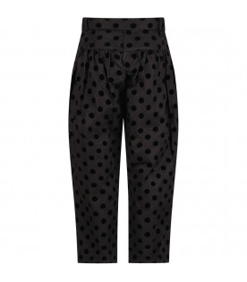 Black girl pants with black polka-dots