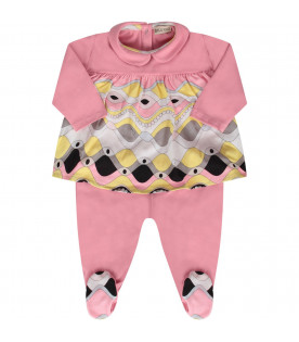 EMILIO PUCCI JUNIOR Pink suit with colorful iconic print