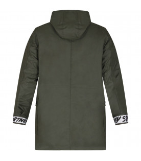 Military green boy parka jacket with black logo