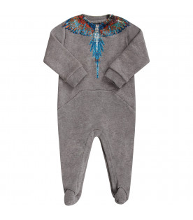 Grey babyboy babygrow and colorful wings