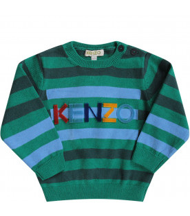 KENZO KIDS Green and light blue babyboy sweater with colorful logo