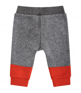KENZO KIDS Grey and orange babyboy sweatpants with logo