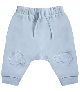 KENZO KIDS Light blue babyboy sweatpants with iconic tiger