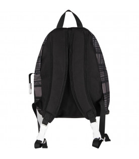 GCDS KIDS Black and grey kids backpack with white logo