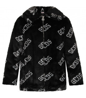 Cappotto nero per bambina con logo bianco all-over