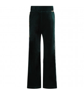 Green girl pants with logo