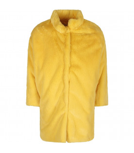 Yellow girl fuax fur with metallic logo