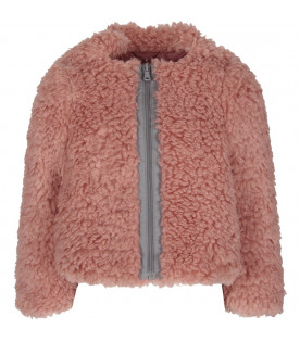 Pink girl jacket with metallic logo