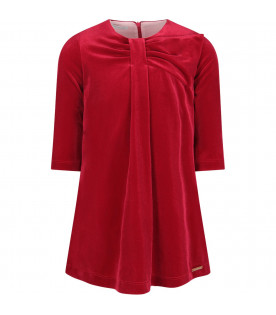 I PINCO PALLINO Red girl dress with gold logo
