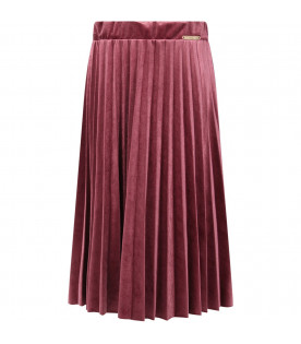 I PINCO PALLINO Dark pink girl skirt with gold logo