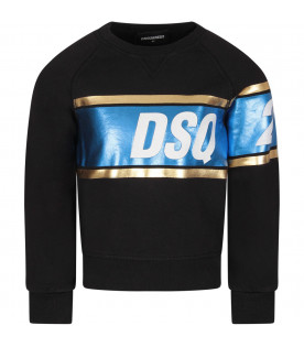 DSQUARED2 Black girl sweatshirt with white logo
