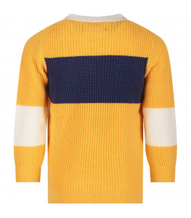 Yellow, white and blue  boy sweater with blue logo and compass