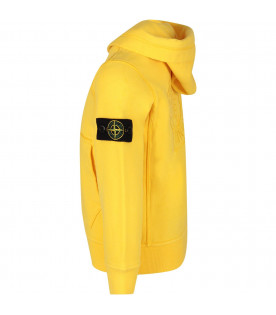 STONE ISLAND JUNIOR Yellow boy sweatshirt with iconic patch