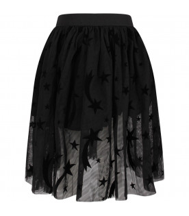 STELLA MCCARTNEY KIDS Black girl skirt with black pois