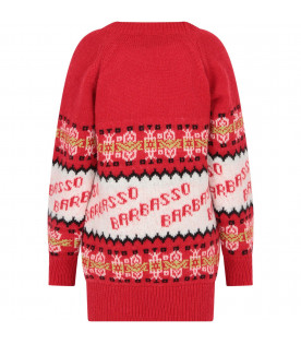 "MSGM KIDS Red ""Bar Basso"" girl maxi pull"