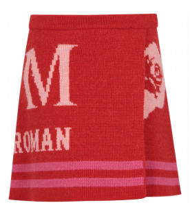 MSGM KIDS Red girl knit skirt with Times New Roman logo