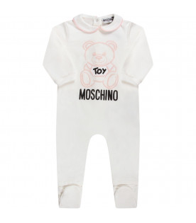 White babygirl babygrow with teddy Bear and logo
