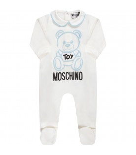 MOSCHINO KIDS White babyboy babygrow with teddy Bear and logo