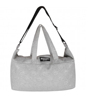 MOSCHINO KIDS Grey babykids changing bag with all-over Teddy Bear