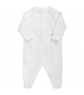 White babyboy babygrow with sporty teddy Bear and logo
