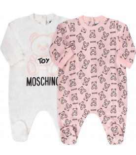 MOSCHINO KIDS Pink and white babyboy set with Teddy Bear