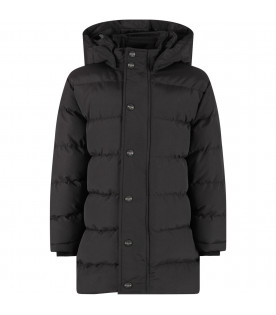 Black padded kids coat with white logo