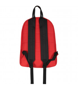 MSGM KIDS Red boy backpack with light blue and white logo