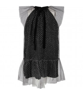 Black dress for girl with silver polka-dots
