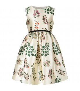 Ivory girl dress with colorful flowers