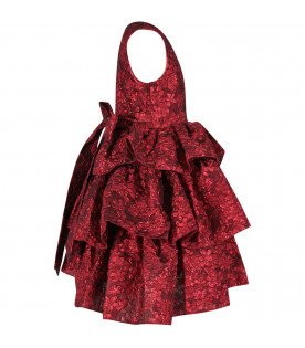 Red girl dress with flowers