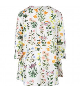 White girl dress with colorful flowers and details