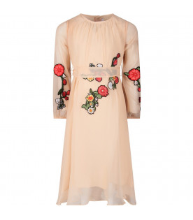 Pink girl dress with colorful patch
