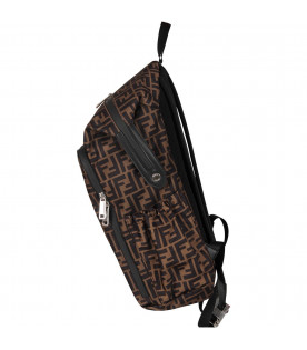 FENDI KIDS Brown kids backpack with doible FF