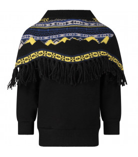 Black boy sweatshirt with poncho