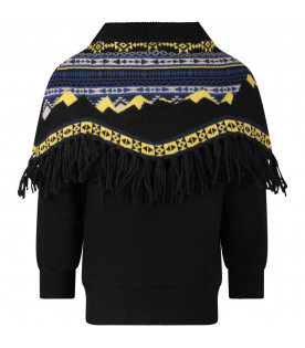 CINZIA ARAIA Black boy sweatshirt with poncho