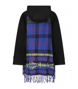 CINZIA ARAIA Black girl jacket with colorful checked details