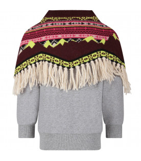 CINZIA ARAIA Grey girl sweatshirt with poncho
