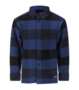 Blue and black boy shirt with fringes