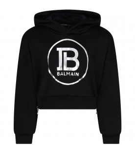 Black girl sweatshirt with silver logo