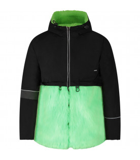 Black girl jacket with neon green faux-fur