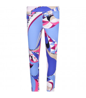 Light blue girl leggings with iconic print