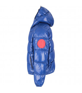 Blue boy jacket with red logo