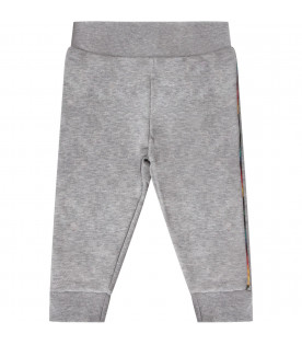Grey babyboy sweatpants with colorful stripes