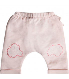 KENZO KIDS Pink babygirl sweatpants with iconic tigers